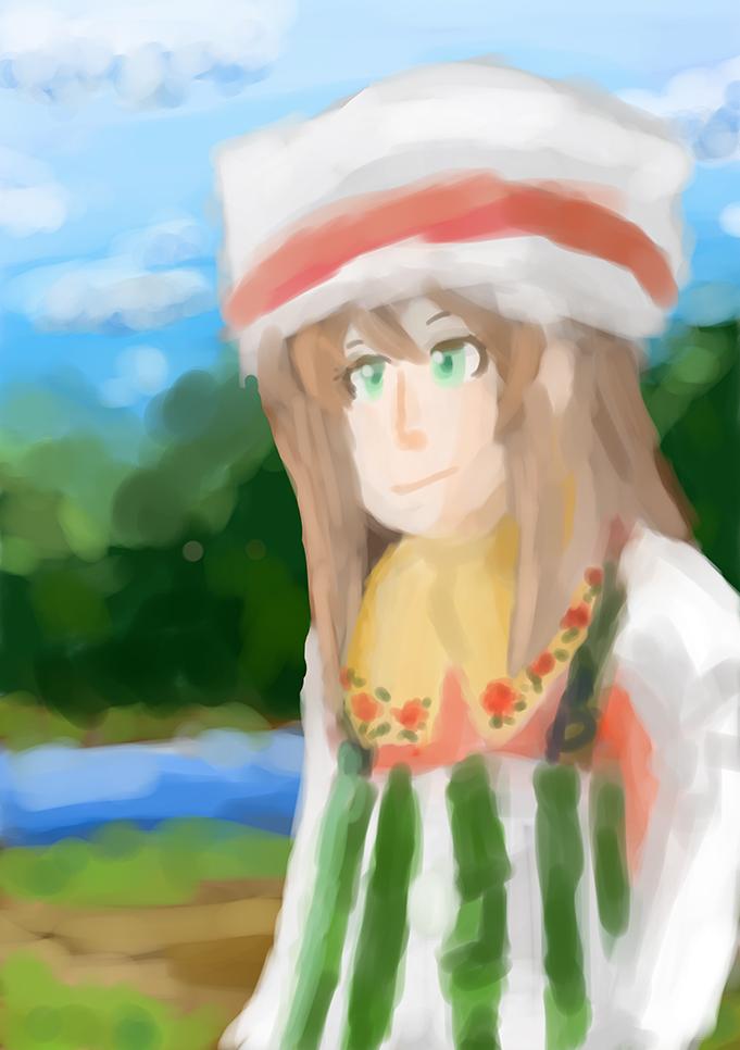 スマホで描いた絵、完成。湖畔の少女